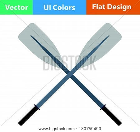 Flat Design Icon Of  Boat Oars