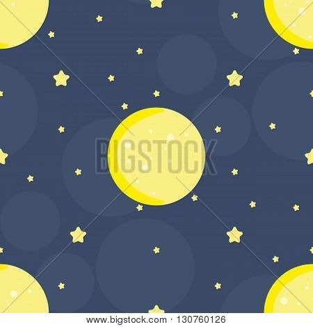 Seamless pattern with moon and stars in vector. Cute hand draw background, stock illustration.