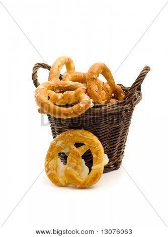 A healthy breakfast: a tidy full of tasty pretzels.