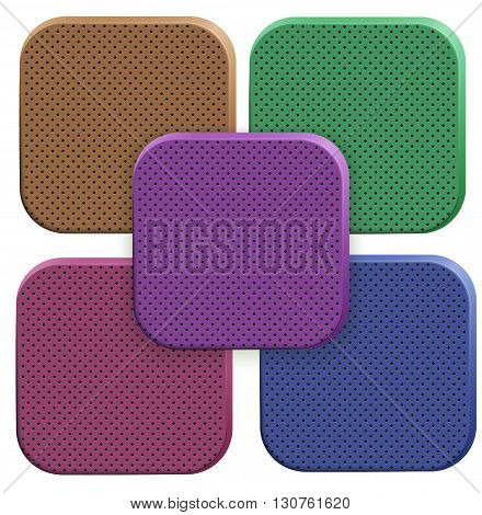 Icons of perforated porous material. Technical illustration Demonstration of the structure of the material. Vector Illustration isolated on white background