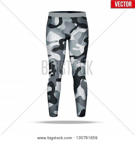 Base layer underwear compression pants of thermal fabric in urban camouflage style. Sample typical technical illustration.  Vector Illustration isolated on white background