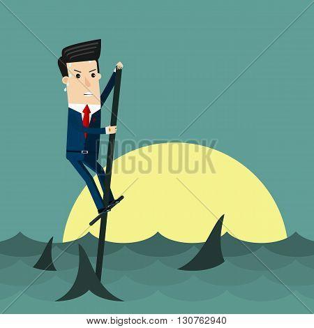 Among Sharks. Business concept vector illustration. Eps 10