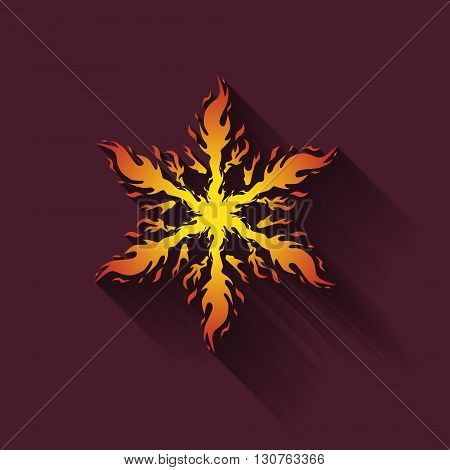 Icon fiery snowflakes with shadow, vector illustration