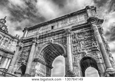 Triumphal Marble Arch of Septimius Severus on the Capitoline Hill Roman Forum Rome Italy poster