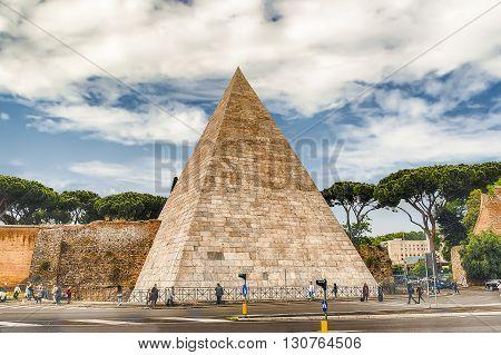 Pyramid Of Cestius, Iconic Landmark In Rome, Italy