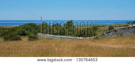 Stone wall KarlXgustavs Mur from 1865 Isle if Oeland province Kalmar Sweden