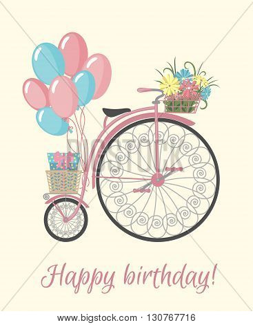 Happy birthday card with bicycle, flowers and balloons. Vintage bicycle with basket full of flowers. Retro bicycle isolated on white background. Vector illustration.