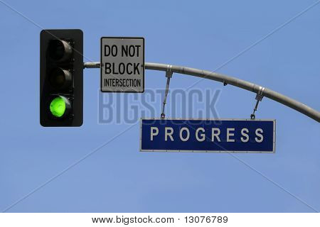 A street sign tells you are successful. But do not stop, you have a green light to go further.
