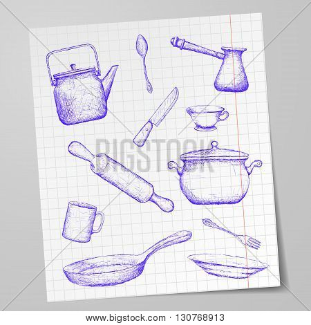 Kitchen utensils drawn on a sheet of paper. Doodle image. Stock vector illustration.