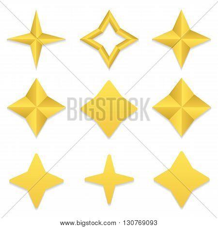 Set of nine different golden four point stars. Vector, eps10.