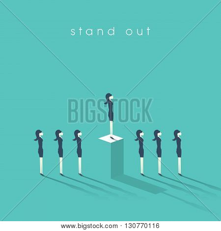Business woman standing out from the crowd. Businesswoman and concept of equality or inequality in professional corporate work. Eps10 vector illustration.