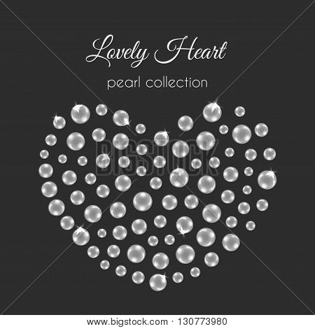 Pearl heart. Vector heart with pearls. White pearls design with sparkles. Wedding decoration.