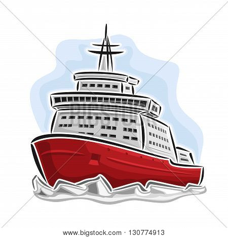 Vector illustration of logo for arctic icebreaker nuclear powered, consisting of  diesel-electric ice-breaker, floating on the frozen northern ocean sea, splitting ice close-up on blue background