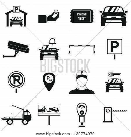 Parking set icons in simple style for any design