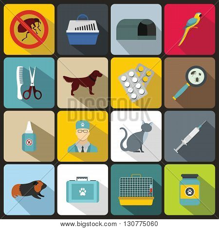 Veterinary icons set in flat style for any design