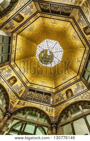 Golden Mosaic Cupola Of Wiesbaden City Museum