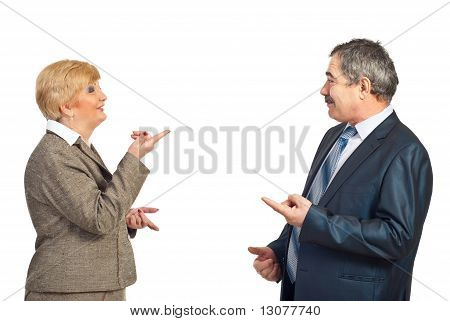 Mature Business People In Funny Conflict