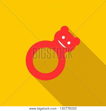 Toy tumbler icon in flat style with long shadow. Children toys symbol