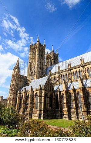 LINCOLN ENGLAND - MAY 3: Lincoln Cathedral. Lincoln England. On 3rd May 2016.