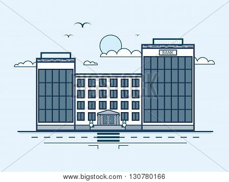 Stock vector illustration city street with bank, banking house, modern architecture in line style element for infographic, website, icon, games, motion design, video