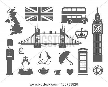 Traditional symbols of architecture and culture of the united Kingdom