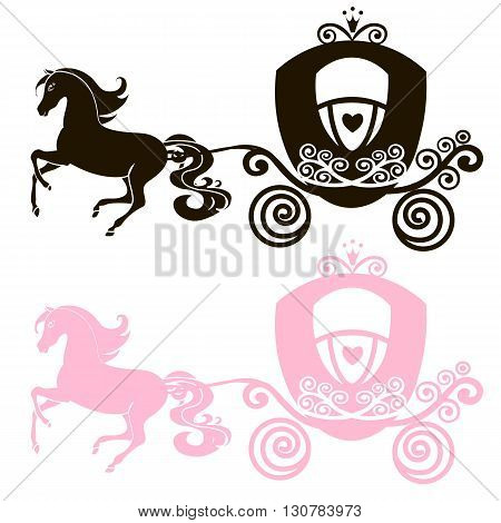 Fabulous Royal pink Princess carriage horse-drawn vector vintage girl stroller logo black and pink the silhouette icon on white background
