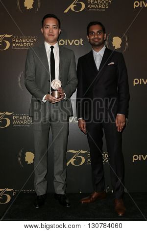 NEW YORK-MAY 21: Alan Yang (L) and Aziz Ansari attend the 75th Annual Peabody Awards Ceremony at Cipriani Wall Street on May 21, 2016 in New York City.