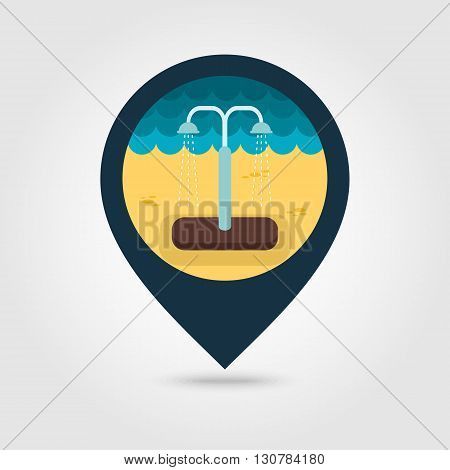 Summer beach pool shower vector pin map icon. Beach Map pointer. Summer Map markers. Summertime. Vacation eps 10