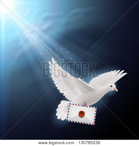 Pigeon flying with letters in beak on sunlight