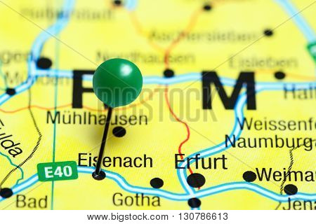 Eisenach pinned on a map of Germany