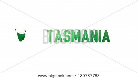 Green Polygonal Mosaic Map Of Tasmania, Tas - Political Part Of Australia