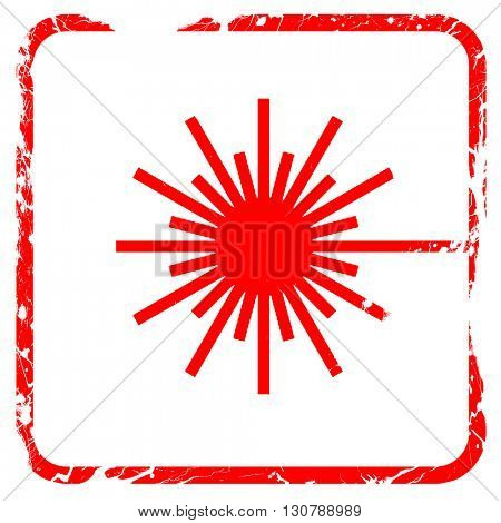 Laser warning sign, red rubber stamp with grunge edges