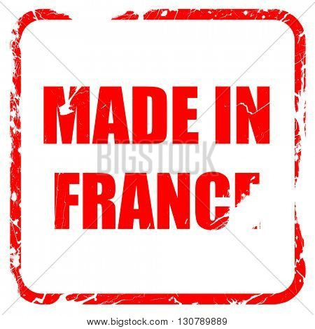 Made in france, red rubber stamp with grunge edges