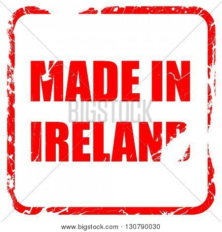 Made in ireland, red rubber stamp with grunge edges