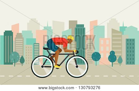 cyclist riding on bicycle on city , vector illustration and poster