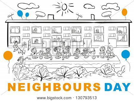 Neighbors Day. Neighbors at banquet table in yard. Vector cartoon illustration