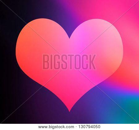 Illustration showing heart shape over colorful background