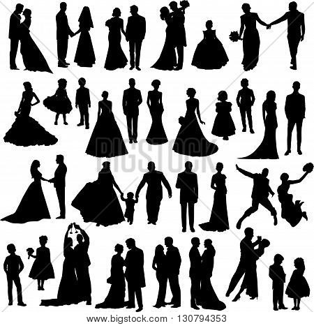 Wedding party silhouettes - vector design elements