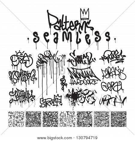 Big set of seamless patterns graffiti style king of style in black and white colors. The set consists of 7 original calligraphy compositions