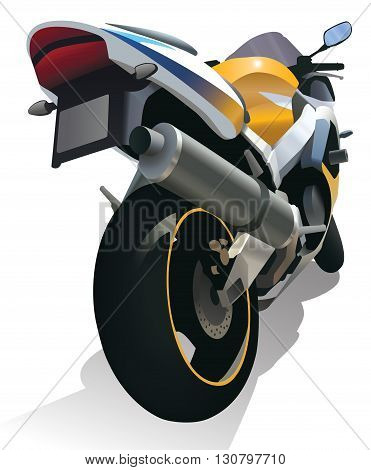 Superbike standing motorcycle color isolated vector illustration