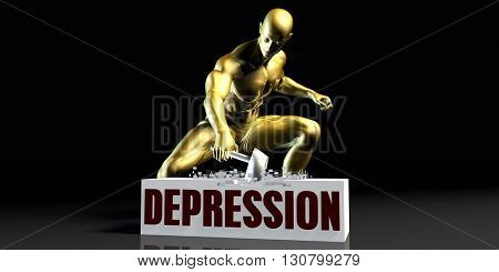 Eliminating Stopping or Reducing Depression as a Concept 3d Illustration Render