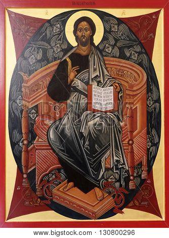 KLEINOSTHEIM, GERMANY - JUNE 08: Christ Almighty, altarpiece in the Saint Lawrence church in Kleinostheim, Germany on June 08, 2015.