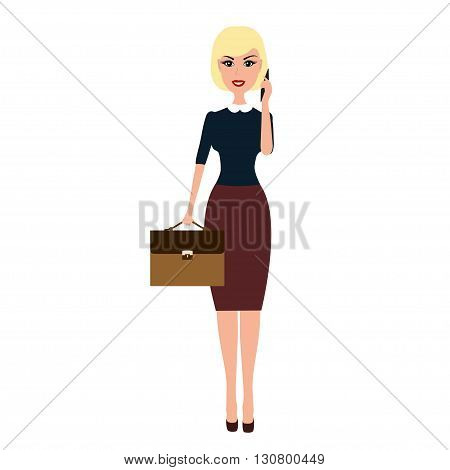 Vector Business woman with a briefcase talking on phone. Caroon blonde business woman with briefcase talking on the phone isolated on white background.