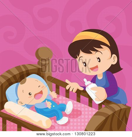 Pretty baby with milk bottle.Cute Baby in the bed with mother.Mother Feeding Baby With Milk In Baby Bottle Mother's day Mother Baby Bottle Feeding Sucking Infant Motherhood Innocence