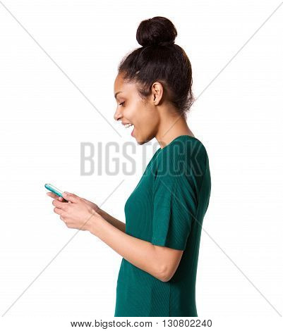 Smiling Young African Woman Using Mobile Phone