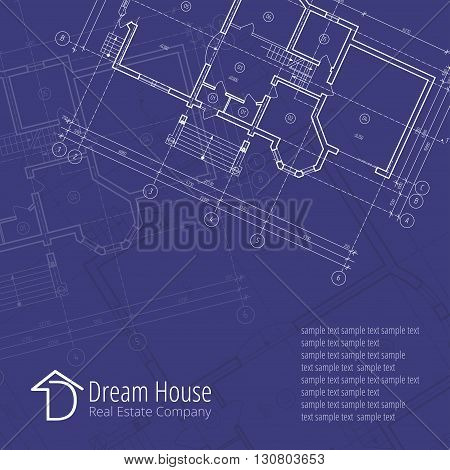 Architectural background. Building plan silhouette on blue background and D dream house real estate company logo,  architecture and design company logo