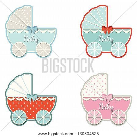 set of four vintage strollers isolated on white background, vector illustration, eps 10 with tranparency