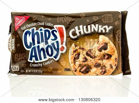 Winneconne WI - 19 May 2016: Package of Nabisco chips ahoy chunky on an isolated background