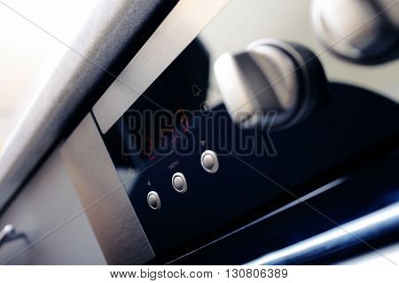 Electronic display of home appliance. Unusual angle view