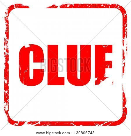 clue, red rubber stamp with grunge edges